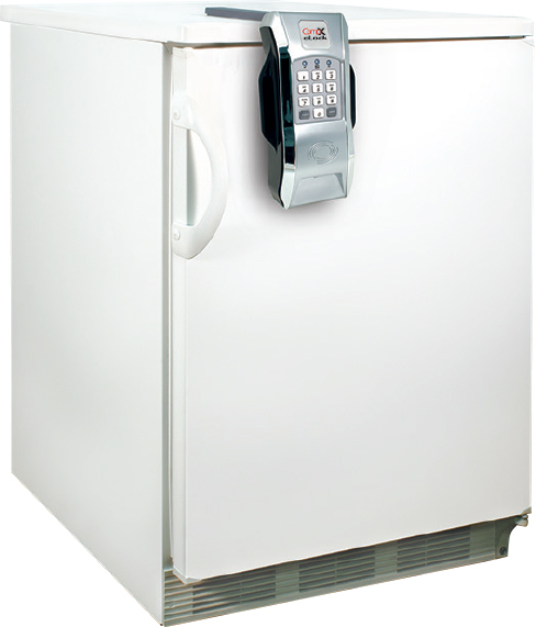 CompX eLock 150 Series - vertical mount - installed on a refrigerator