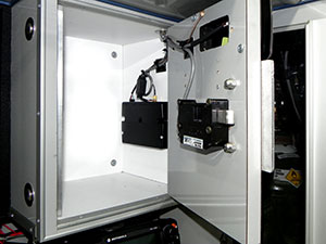 200 / 300 Series cabinet eLock, with wireless 802.11g, HID Prox reader with keypad installed on EMS vehicle's narcotic cabinet - inside view