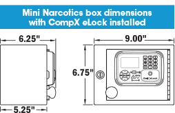 Dimensions of the MINI NARC box: 9.00 inches wide, 6.75 inches tall, 6.25 inches deep including the eLock mounted on front, 5.25 inches deep not counting the eLock mounted on the front