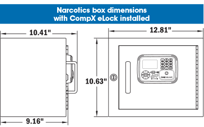 Dimensions of the standard NARC box: 12.81 inches wide, 10.63 inches tall, 10.41 inches deep including the eLock mounted on front, 9.16 inches deep not counting the eLock mounted on the front